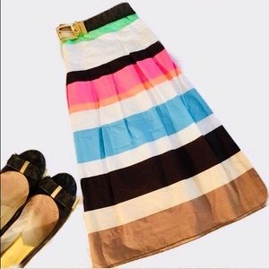 Talbots pleated striped skirt EUC 12